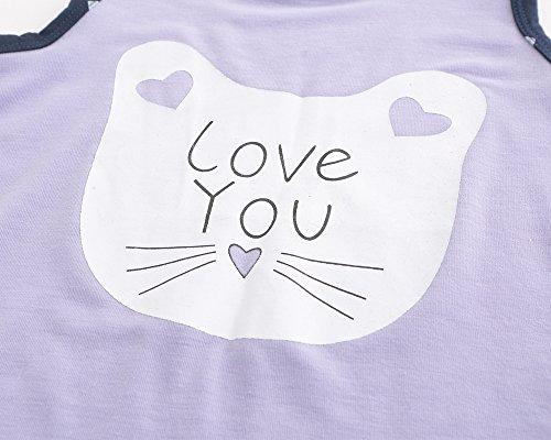 MyFav Big Girls Sleeveless Sleepwear Lovely Cartoon Cat Hearts Shape Pajama Sets