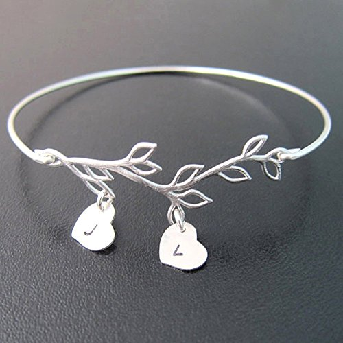 Family Tree Bracelet Customize with 2 to 9 Heart Initial Charms Personalized Gift Jewelry for Mother