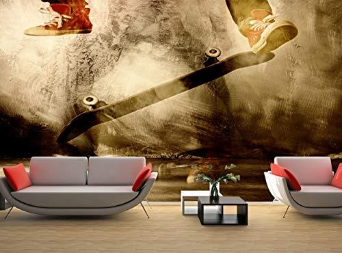 Fototapete Skateboard Trick Wall Mural Wanddekor (144 x 100 Zoll/366 x 254 cm) Riesiges Papier Poster Enthalten Paste Schlafzimmer Wohnzimmer Bild Dekoration Teenager Kinder Schlafzimmer Wohnzimmer