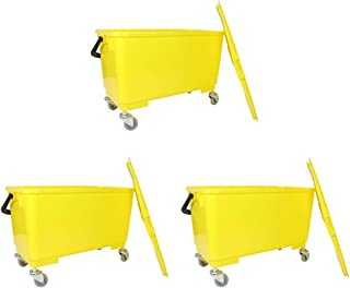 Arkwright Flat Mop Bucket 6 Gallons with Ergonomic Handle, Lid, Sieve and Wheels (Pack of 3, Yellow)