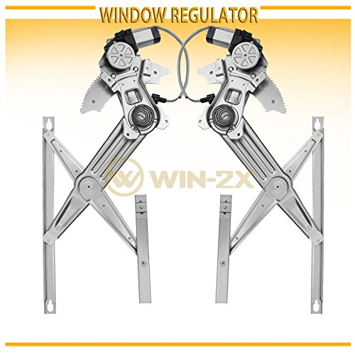 WIN-2X New 2pcs Front Driver & Passenger Side Power Window Regulators & Motors Assemblies Fit 02-08 Dodge Ram 1500 03-09 Ram 2500/3500 10-12 Ram 3500 Cab & Chassis 08-12 Ram 4500/5500 Cab & Chassis