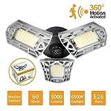 LED Garage Lights Motion Activated, 60W Deformable LED Garage Lights 6000LM LED Shop Lights, LED Garage Light, Motion Sensor Garage Lights with 3 Adjustable Panels (Motion Sensor)