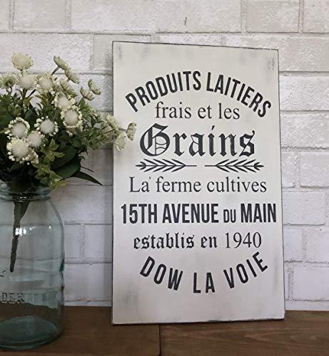 Ced454sy French Grains Schild Französisches Bauernhaus Schild Französisches Schild Futtersack Schild Bauernhaus Dekor Rustikales Holzschild