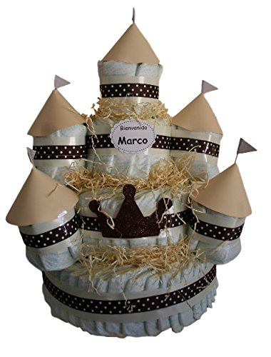 Castillo de pañales Beige, 120 pañales Dodot, tarta de pañales ideal como regalo de bebé