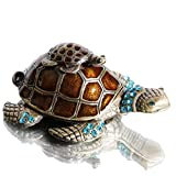 Waltz&F Turtle Trinket Jewelry Box with Sparkling Light Green Crystals,Hinged Trinket Box Hand-painted Figurine Collectible Ring Holder
