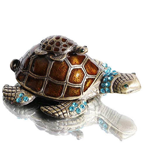 Waltz&F Turtle Trinket Jewelry Box with Sparkling Light Green Crystals Hinged Trinket Box Hand-painted Figurine Collectible Ring Holder
