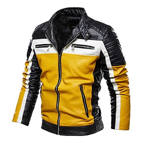 Chaqueta de cuero de los hombres abrigo de la motocicleta ropa de color a juego de gran tamaño de moda chaqueta