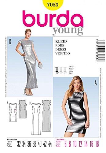 Burda dames gemakkelijk naaien patroon 7053 lichaam knuffelen lange & korte jurken