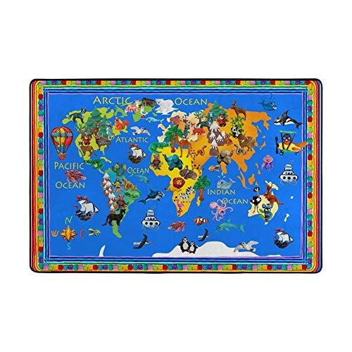 Redecor Kinder-Spielteppich, Weltkarte mit Tieren, pädagogisch, weich, für Wohnzimmer, Schlafzimmer