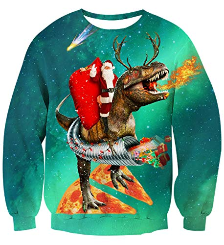 AIDEAONE Herren Damen Weihnachten 3D Weihnachtsmann Langarm T-Shirt Sweatshirt
