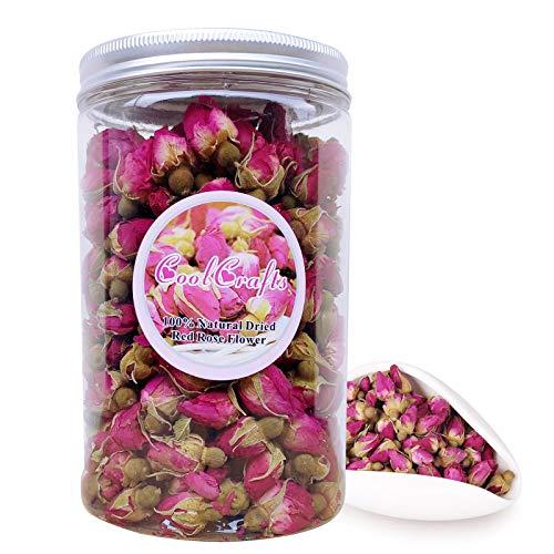 CoolCrafts Capullos Rosas Secas Naturales 100g Flores Secas Rosa para Decoración de Pasteles, Jabón, Resina, Popurri