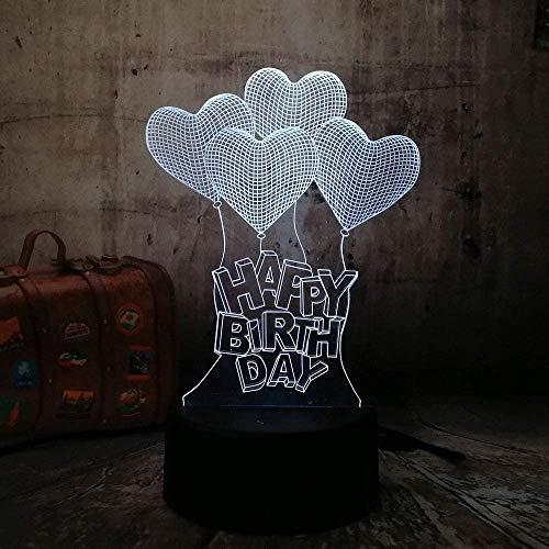 3D Nachtlicht Nachtlicht Geburtstagsgeschenk Liebe Ballon Familie Dekoration Tisch Schreibtisch Multi-Touch Urlaub Kreatives Geschenk Glanz Halloween Stimmung Licht