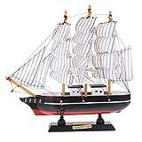 GARNECK Modelo de barco de vela de madera, modelo de barco de vela, hecho a mano, vintage, decoración náutica, adorno de mesa para objetos de escena playa, océano, fiesta temática en miniatura, 24