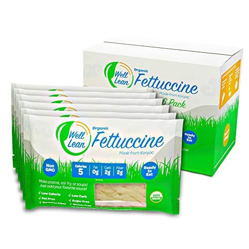 Organic Well Lean Fettuccine, 6 Pack, 9.52 oz, Premium Shirataki Konjac Pasta, Keto Friendly, Non Gmo, Ready to Eat, Low Calorie, Low Carb, Gluten Free, Soy Free, Vegan, Diet Food
