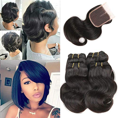 Remy Weave Bundles Fashion Short Hair Extensions Natural Black