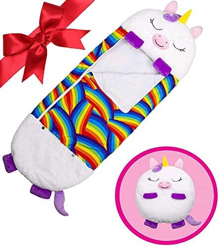 beautgreen Almohada y saco de dormir para niños, 2 en 1, diseño de dibujos animados, divertido saco de dormir sorpresa de unicornio blanco (3-6 años)