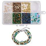 SUNNYCLUE 1 Set DIY Multi Layered String Beaded Wrap Bracelet Making Kit Bohemian Seed Bead Adjustable Anklet Jewelry Kit for Beginner Adults Women, Adjustable