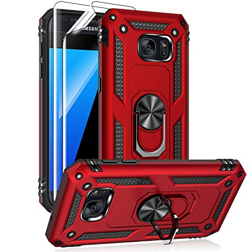 Samsung Galaxy S7 Case with HD Screen Protectors, Androgate Military-Grade Metal Ring Holder Kickstand 15ft Drop Tested Shockproof Cover Case for Samsung Galaxy S7 Red