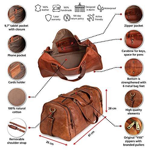 Berliner Bags Berliner Bags Reisetasche Berliner Bags Bergen XL aus Leder Weekender Sporttasche Vintage Damen Herren Braun Groß 60 cm 45 Liter