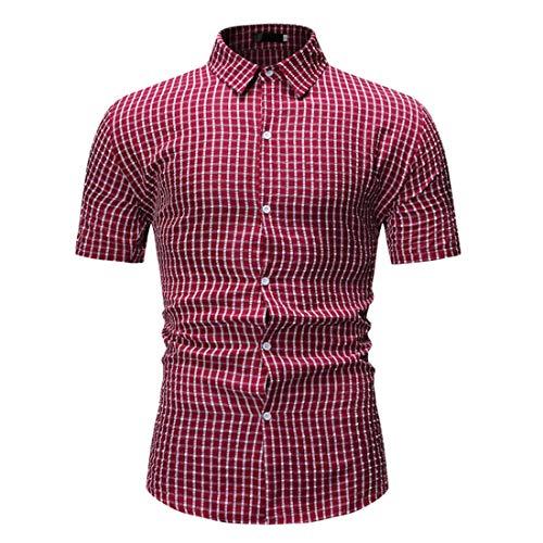 Chemise carreaux pour hommes Chemise manches courtes pour hommes Chemise revers de base Loisirs Coupe normale Chemises manches courtes carreaux Chemise manches courtes Chemises Sweat T-shirt Tops M