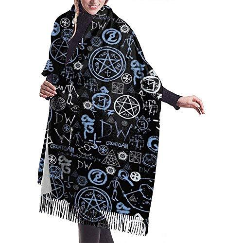 Elaine-Shop Damenschal Supernatural Symbols Classic Tassel Plaid Scarf Warmer Herbst- und Winterschal