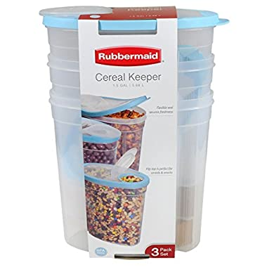 Rubbermaid 1.5 Gallon Cereal Keeper Dry Food Storage Container, 3-Pack, Sky Blue