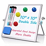 Small Dry Erase White Board, 10' X 10' Double Sided Desktop Whiteboard, Portable Magnetic Tabletop Erase Board for Kids Drawing, Teaching, Memo, Office, Home, School Magnetic White Board
