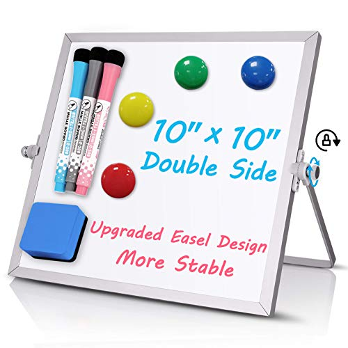 """Small Dry Erase White Board, 10"""" X 10"""" Double Sided Desktop Whiteboard, Portable Magnetic Tabletop Erase Board for Kids Drawing, Teaching, Memo, Office, Home, School Magnetic White Board"""