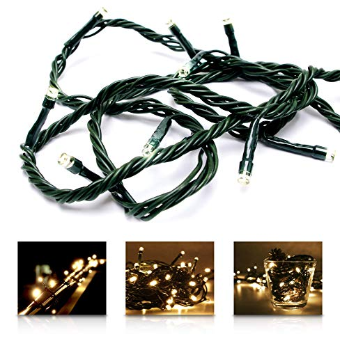 LED Universum Lichterkette mit 100 warmweißen LEDs und verschiedenen Stimmungsmodi für innen und außen, 10 Meter, IP44, perfekt für Weihnachtszeit, Hochzeiten oder Gartenfeiern