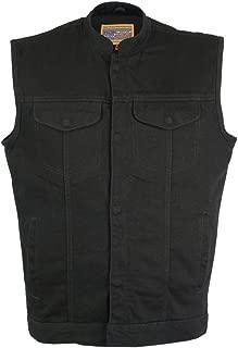 black denim motorcycle vest