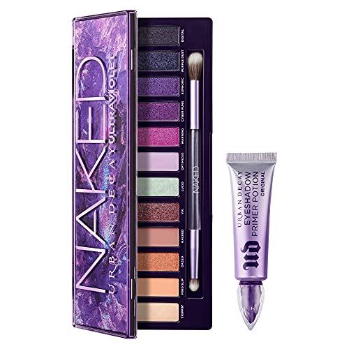Urban Decay Eye Makeup Set - Naked Ultraviolet Eyeshadow Palette + Full Size Eyeshadow Primer Potion - For Crease-Free Eyeshadow & Makeup Looks