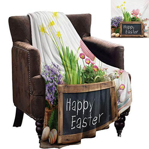 LanQiao - Manta pesada de Pascua con flores y huevos, pizarra sobre una mesa de madera, elementos rústicos para mujer, 152 x 127 cm, multicolor