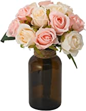 Febou Silk Roses Artificial Flower 24pcs Artificial Rose Floral Rose Flower Simulation Rose for Wedding Home Hotel Office Party Decor (2 Bunch-24 Rose, Champagne)