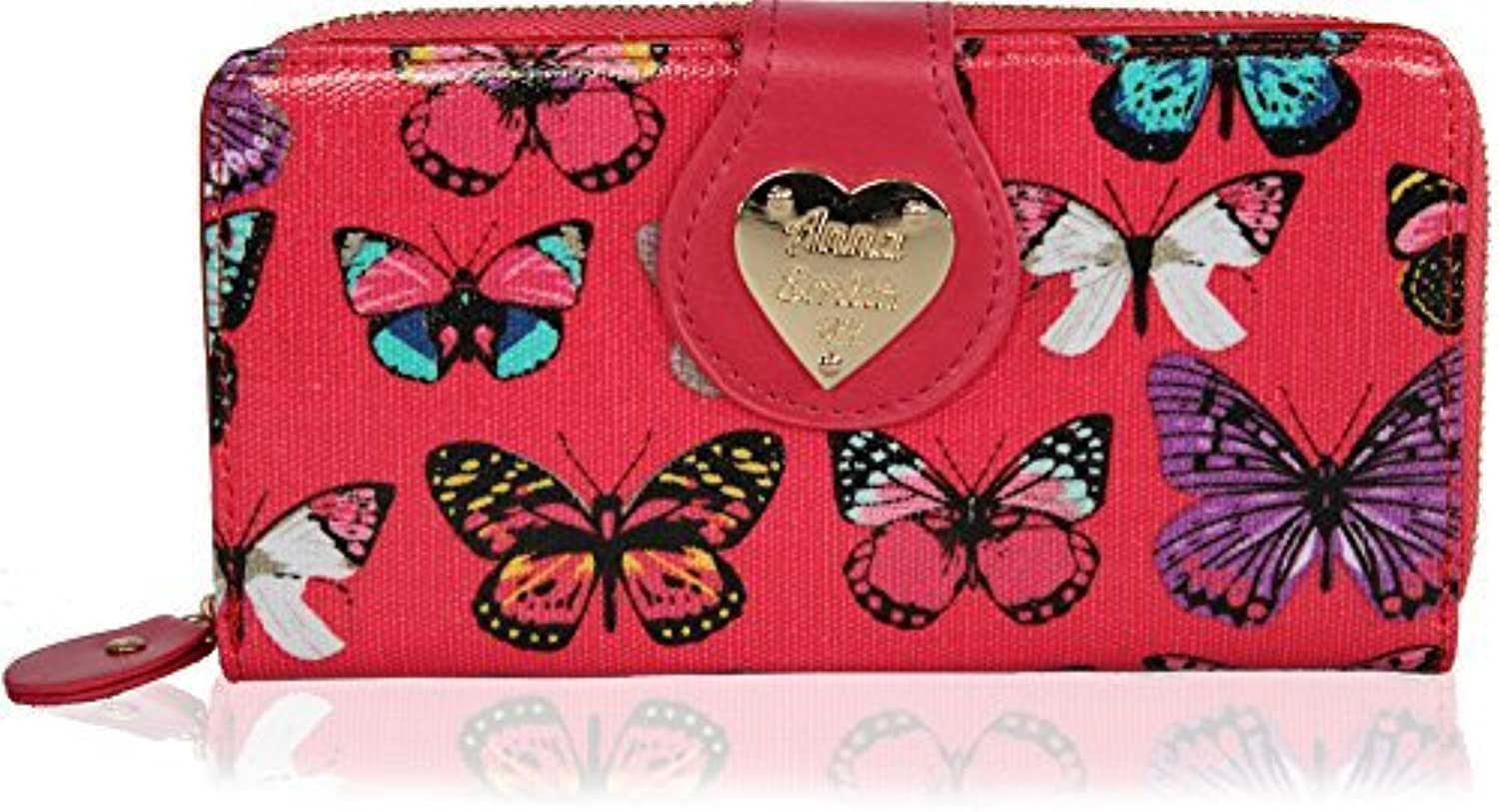 Genuine Ladies Anna Smith Butterfly print Patent Wallet Purse With GIFT BOX