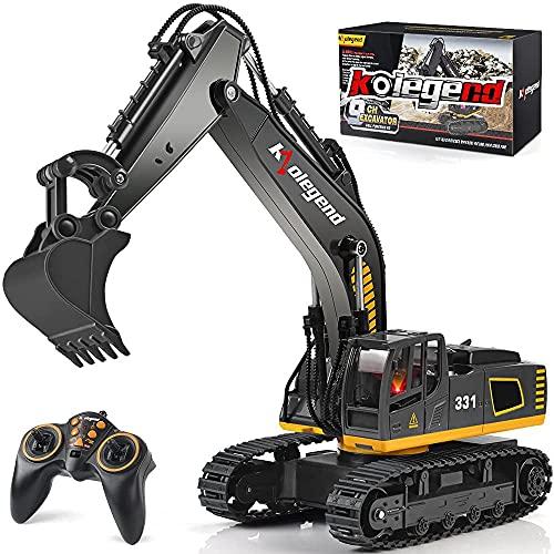 kolegend Ferngesteuerter Bagger Spielzeug LKW, 2,4 GHz 9 Kanal 1:18 RC Bagger Spielzeug RC Engineering Auto Legierung und Kunststoff Bagger RTR fš¹r Kinder