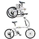 Wangkangyi Vélo pliant 20 pouces blanc 7 vitesses vélo pliable avancé VTT vélo de camping système Quick Fold double frein V