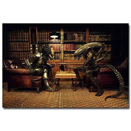 Y fodoro Alien Vs Predator 3 Play Chess Movie Art Puzzle Print Wall Pictures Decoración de la habitación