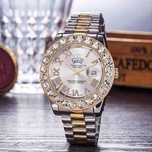 WMYATING Exquisito, Hermoso, decente, novedoso y único. Relojes de Pulsera llenos de Color Estrella Diamond Steel Belk Watch Full Diamond Men's y Women's Relojes Moda (Color : 7)