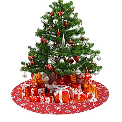 HXXXIN 121.92cm Red Christmas Tree Skirt Snowflake Tree Skirt Double Thick Christmas Tree Mat Holiday Party Decoration