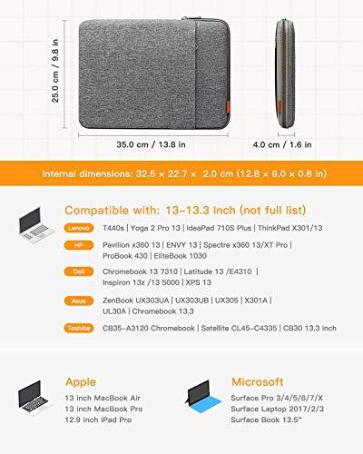 Inateck 13 Zoll Hülle Laptoptasche Kompatibel mit 13 Zoll MacBook Pro, 13 Zoll MacBook Air, 12,9 Zoll iPad Pro, Surface Pro7, 13,5 Surface Laptop, MateBook D14, Notebook Sleeve Schutzhülle Case