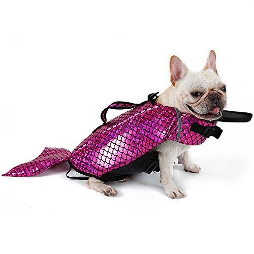 summer holiday Dog Life Jacket Pet zwemvest Mermaid verandert zich in een Teddy Badpak Golden Retriever Zwemkleding (S, Rose)