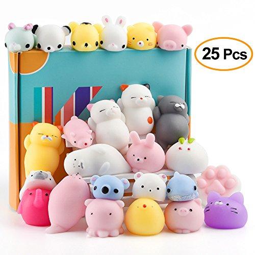 KUUQA 25Pcs Mochi Squishy Spielzeug Kawaii Squishies Tiere Panda Cat Paw Nette Mini Soft Squeeze Stress Reliever Bälle Spielzeug Geburtstagsfeier Tasche Geschenke Gefälligkeiten für Kinder Erwachsene