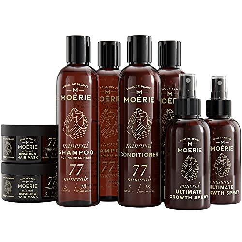 Moerie Mineral Shampoo and Conditioner Plus Hair Mask and Hair Spray Mega Pack – The Ultimate Hair Care Set – For Longer, Thicker, Fuller Hair - Vegan Hair Products – Paraben & Silicone Free Products