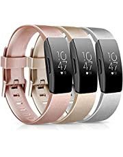 [3 Pack] Soft TPU Bands Compatible with Fitbit Inspire 2 / Fitbit Inspire HR/Fitbit Inspire/Fitbit Ace 2 Wristbands Sports Waterproof Straps for Fitbit Inspire HR (05 Black/Purple/Navy Blue, Large)