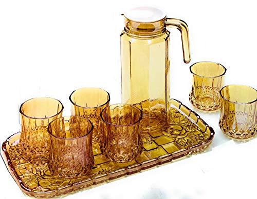 Vajilla de cristal de color café trasplantado de 8 piezas, juego de vajilla de 1,0 l, jarra, 6 vasos y 1 bandeja jarra, jarra de zumo con tapa