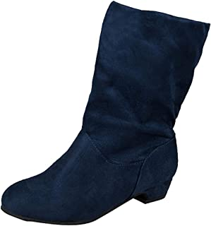 Women Suede Slouchy Boots Cozy Square Low Heel Round Toe Middle Tube Slip-On Boots