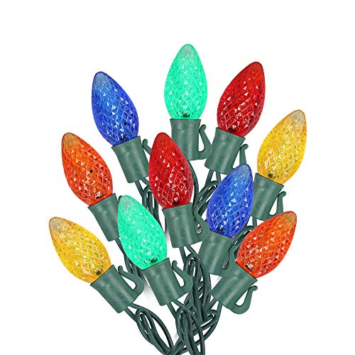 MAXINDA [Commercial Grade] Outdoor Colored Led Christmas Lights,13 Ft 25 C7 Bulb,Indoor Decorative Xmas Tree Lights,Wedding Party Garden Holiday Halloween Festive Mood Lighting to Bright Your Home Up
