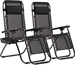 Zero Gravity Chairs Patio Set of 2 with Pillow and Cup Holder Patio Furniture Outdoor Adjustable Dining Reclining Folding Chairs for Deck Patio Beach Yard