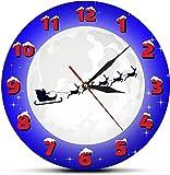 Reloj de pared Papá Noel grande en un trineo con nieve Luna Reloj de tiempo de Navidad Papá Noel y renos Decoración de pared Reloj para el hogar Reloj de pared Feliz Navidad Adecuado para bares de caf