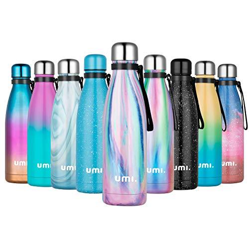 UMI. by Amazon - Botella Agua Acero Inoxidable 500ml, Termo Cafe para Llevar, Botella Térmica con Aislamiento de Vacío de Doble Pared, Sin BPA, para Niños Adultos, Deporte, Oficina, Viaje, Iris